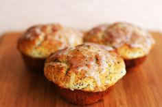 Perfect poppy seed muffins with lemon zest and a sugar lemon glaze.