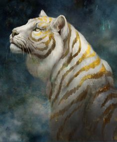Wild Fantasy: Animal Paintings by Jade Merien Mystical Animals, Mythical Creatures Art, Big Cats Art, Cat Art, Furry Art, Cute Animal Drawings, Animal Sketches, Wolf Drawings, Tiger Illustration