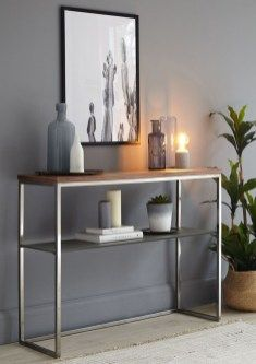 Walnut, Black Chrome and Grey Frosted Glass Console Table. Sleek metal frame, solid and sturdy and perfect for any room in your home. Living Furniture, Living Room Decor, Furniture Design, Studio Furniture, Bathroom Furniture, Bathroom Interior, Decoration Bedroom, Entryway Decor, Entryway Ideas