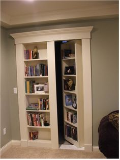 Cool idea for hidden entry into storage area.  Maybe make it a 1/2 shelf, 1/2 wine rack.