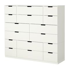 IKEA - NORDLI, Chest with16 drawers, , You can use one modular chest of drawers or combine several to get a storage solution that perfectly suits your space.Integrated damper catches the running drawer and closes it slowly, silently and softly.Adjustable feet make it possible to compensate for any irregularities in the floor.