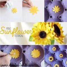 Mini Sugar Flower Sunflower Tutorial - Avalon Cakes www.avaloncakes.com/blog
