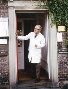 Alf Wight at his surgery in Thirsk. All_Creatures_Great_And_Small James_Herriot North Yorkshire The Yorkshire Vet, Yorkshire England, Yorkshire Dales, North Yorkshire, England Uk, James Herriot, Yorkshire Terrier Puppies, Veterinary Surgeon, Famous Faces
