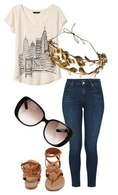 """""""Untitled #166"""" by themadhatterxox ❤ liked on Polyvore featuring Banana Republic, J Brand, Breckelle's and Gucci"""