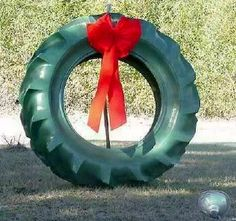 Old tires are plentiful, and a reuse of a giant tire isn't such a bad idea  Reminds me on a Farm or Ranch