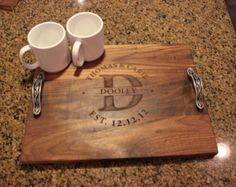 """Personalized Engraved Wood serving tray / Cutting Board - Circle Monogram, Names and Date- Walnut Wood - 16"""" x 12"""""""