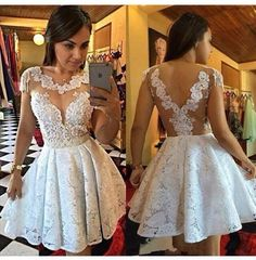 2017 Short White Lace Homecoming Dresses Illusion Appliques A-line MIni Party Gowns For Young Girls Graduation Dress Orange Prom Dresses, White Homecoming Dresses, Grad Dresses Short, Short Prom, Dress Prom, Girls Party Dress, Girls Dresses, A Line Cocktail Dress, Cocktail Dresses