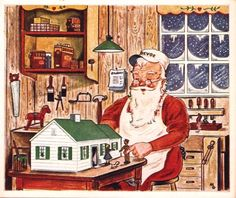 Santa carefully designs a dollhouse for a happy child on Christmas Morning