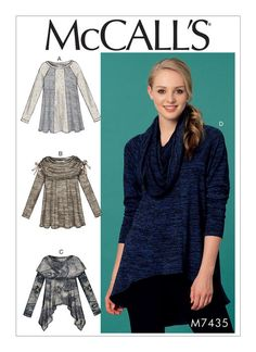 Swingy top/tunic sewing pattern from McCall's. M7435 Misses' Paneled Knit Tops with Neckline Variations                                                                                                                                                     More