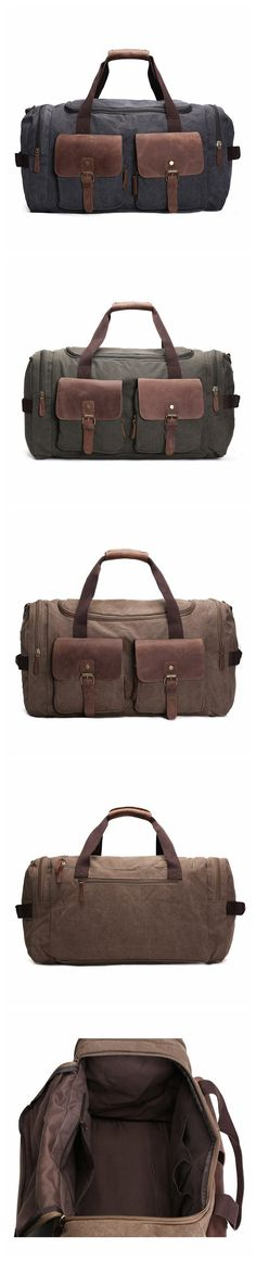 ROCKCOW Weekender Overnight Bag Canvas Genuine Leather Travel Duffel Tote  AF14 d3624c4e32a12