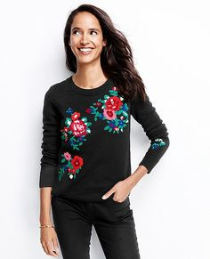 "This beautifully knit, so-soft lambswool sweater is elevated with beautiful chenille embroidery. One of those pieces that you'll keep in the mix for years to come.  <br>•Soft yarns of 80% lambswool, 20% nylon  <br>•Chenille embroidery embellishments <br>•24"" length (for size M) <br>•Open crew neck <br>•Wide ribbed cuffs <br>•Hand wash <br>•Imported"
