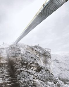 Shortlisted Concept Designs Revealed for the Tintagel Castle Footbridge,Proposal: Niall McLaughlin Architects with Price and Myers. Image © MRC/Emily Whitfield-Wicks