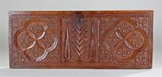 18th Century Continental Antique Pine Carved Coffer Front