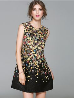 Buy Party Bead Print O-neck Sleeve Loose Shift Dress with High Quality and  Lovely 486c0e16a1