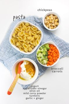 Bite sized pasta, broccoli, carrots and chickpeas get tossed in a tasty mild curry sauce that will delight any baby or toddler's growing taste buds! This finger food salad is a fun way to introduce cu Healthy Baby Food, Healthy Toddler Meals, Kids Meals, Toddler Food, Toddler Dinners, Toddler Lunches, Healthy Lunches, Easy Toddler Snacks, Toddler Recipes