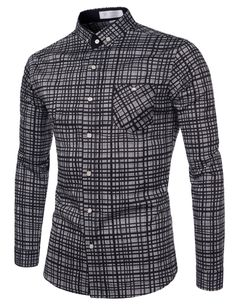 TheLees (AL588) Slim Fit Checkered Stretchy Casual Dress Button Down Shirts