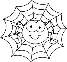 Spider In Web Coloring Page Halloween