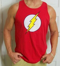 THE-FLASH-shirt-L-GRAPHICS-DC-COMICS-MUSCLE-TANK-RED