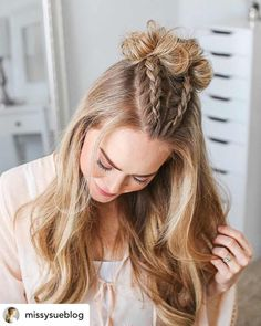 Do you want the perfect new back-to-school hairstyle? Dutch V-braids and topknots are the perfect hairstyle for school! Whether you're looking for back to school hairstyles for girls, teens, or any length of hair, this step-by-step hair inspiration guide will help you find some ridiculously cute and easy hairstyles for school! #Hairstyles #BackToSchool #BackToSchoolHair #SchoolHair