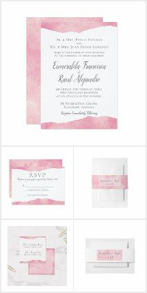 There's something especially lovely about cotton candy pink! It's sweet, it's soft, it's dainty and yet elegant! It goes with all styles - pearls, flowers, diamonds - like it's meant to be!  This suite is fully customizable - from the fonts to the colors. #cedarandstring #weddinginvitations #weddinginspiration #pinkwedding #watercolor