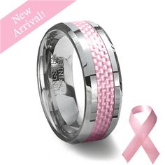 Pink Carbon Fiber Tungsten Wedding Ring. I LOVE my wedding set but I'm really wanting a band and this one is just so perfect!