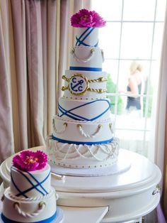 Nautical cake with pink florals   http://www.weddingreports.com/glam-nautical-wedding-saybrook-point-inn-spa/