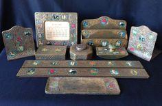 Tiffany Studios doré bronze 10-piece Zodiac desk set with enameled color #ArtNouveau #TiffanyStudios