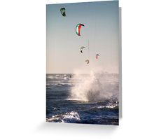Landing in a Splash Greeting Card Kitesurfing, Landing, Greeting Cards, Poster, Design, Art, Art Background, Kunst