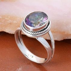 HOT 925 STERLING SILVER RAINBOW MYSTIC RING JEWELLERY 4.43g DJR4985 #Handmade #Ring