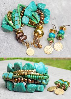 Russian Amazonite, Teal, Mint, Aqua, Gold & Bronze Statement Bracelet $195 Green Turquoise and Gold Disc Earrings $65