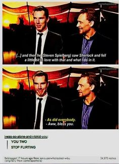 Tom Hiddleston & Benedict Cumberbatch ~ Stop flirting.