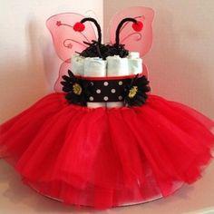 Ladybug princess 2 tier diaper cake www.facebook.com/babycakesbyangie