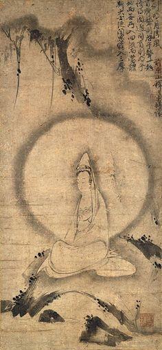 Kannon in white robe.   Inscription by Kenchu Seiyu.
