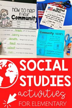 Easy click and print resources to supplement your first grade social studies curriculum inlcuding vocabulary, interactive notebooks, graphic organizers and cross-curricular writing. Social Studies Curriculum, Social Studies Activities, Teaching Social Studies, Learning Activities, Teacher Hacks, Teacher Pay Teachers, Cross Curricular, Community Helpers, Interactive Notebooks