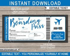 DIY Printable Editable Boarding Pass Surprise Fake Airline | Etsy Boarding Pass Template, Boarding Pass Invitation, Merry Christmas Happy Hanukkah, Printable Designs, Printables, Ticket Template Free, Coupons For Boyfriend, Destinations, Free Thank You Cards