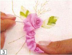 Wonderful Ribbon Embroidery Flowers by Hand Ideas. Enchanting Ribbon Embroidery Flowers by Hand Ideas. Ribbon Embroidery Tutorial, Silk Ribbon Embroidery, Diy Embroidery, Embroidery Stitches, Embroidery Patterns, Ribbon Art, Ribbon Crafts, Ribbon Flower, L'art Du Ruban