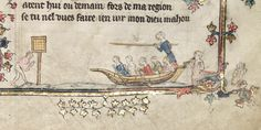 Water tilting (jousting on water) in Oxford, Bodleian Library MS Bodley 264