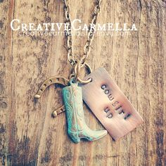 """cowgirl up"" this hand-stamped copper pendant necklace is perfect for a girl who knows how to get things done!  The hand cut, hand stamped pendant measures approximately .5 x 1 inch. A horseshoe charm in antiqued bronze and a cowgirl boot with a turquoise patina have been added also. All of the..."