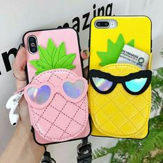 Cartoon Pineapple Purse Cosmetic Mirror Phone Case Cover For iphone XS Max 6 7 8 Iphone 7, Coque Iphone, Iphone Phone Cases, Phone Covers, Iphone 8 Plus, White Iphone, Iphone Cases For Girls, Girly Phone Cases, Accessoires Iphone
