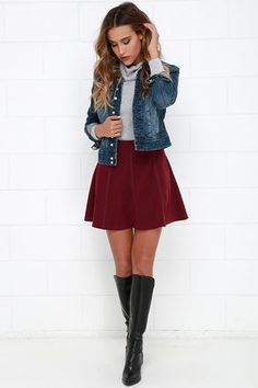 Wrangle the Wind Wine Red Suede Skirt at Lulus.com!