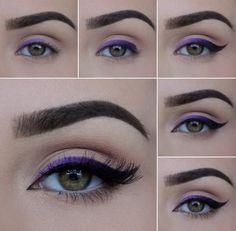 Fioletowa i czarna kreska- super efekt - Makijaż dzienny makijaż,makijaż,malowanie,moda,uroda - kobieceinspiracje.pl