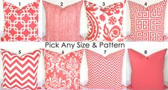 PILLOWS MIX & MATCH Any Size Pattern Coral Decorative Throw Pillows 18x18 Pillow Covers Coral Throw Pillow Salmon 16 18 Home and Living