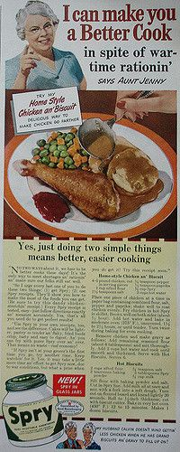 Aunt Jenny Spry ad with recipes for Home-Style Chicken an' Biscuits | Flickr - Photo Sharing!