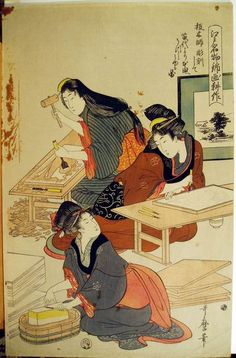 Ukiyo-e, State of the ukiyo-e woodblock prints production Original author: Kitagawa Utamaro 北川歌麿
