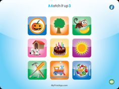Match it Up 3 ($0.00) Match it up helps develop visual perception skills, cognitive skills such as categorization, and with parental assistance can also develop language skills, for example, by naming the objects and the colors. In Match it up 3, the match is made between conceptually related images. It is designed for children aged 2.5+.