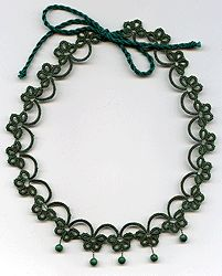 "Necklace, sets of - lace ""frivolite"":: A lace ""frivolite"" of Elena Ignatova, master of folk creation, Ukraine, Kharkov :: Jewellery knot shuttle lace of frivolite (schiffchenspiize), ear-rings, bangles, necklace, natural stone and skin with a lace, style ""The Gothic Black-art"""