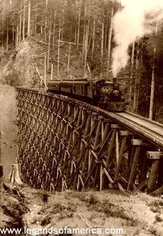 railroad bridges with trains