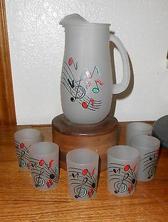 Vtg 7 Pc Set Hazel Atlas Fire King Frosted Pitcher & Glasses Music Notes So Fun!
