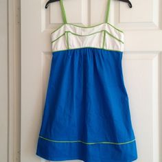 Sea Blue, White, and Spring-Green Sun Dress The shade of blue on this dress is amazing! A bit lighter than the saturated cobalt colour my camera suggests. Fabulous summer dress in a wonderful colour combination..side zipper.. In excellent condition Dresses