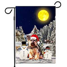 PrintYmotion Yorkshire Terrier Dog with Snowman Christmas Holidays Garden Flag, Dog Lovers Gift (12 x 18 Inches) Prin... #Yorkshire Terrier #Dog Lovers gift #Christmas Gift #Christmas Flag